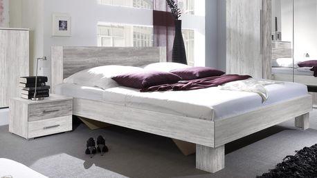 VIERA postel 180x200 cm s nočními stolky, borovice canyon světlá/borovice canyon tmavá