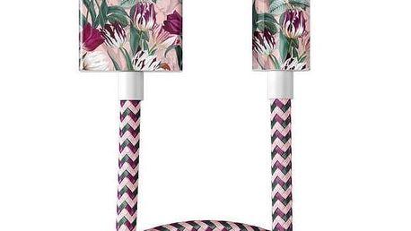 iDeal of Sweden Textilní USB kabel na iPhone Vintage Tulips 1m, červená barva, růžová barva, kov, plast, textil