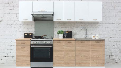 Kuchyně SONJA 2, 180/240 cm, korpus bílý/dvířka dub barrique, bílý mat DOPRODEJ