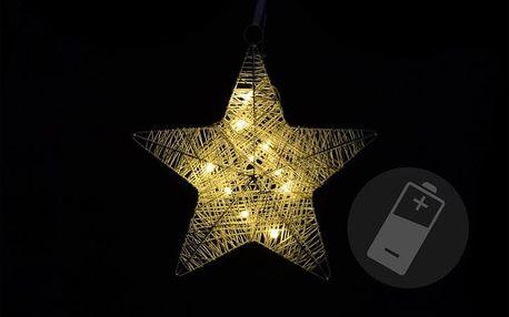 Nexos 28278 Vánoční dekorace - vánoční hvězda - 25 cm, 10 LED diod