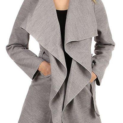 Zavinovací dámský kabát s páskem světle šedá