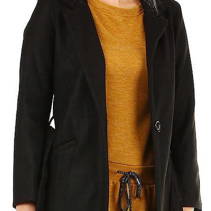 Dámský přechodný kabát s páskem černá