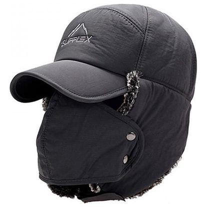 Pánská zimní čepice s kšiltem + maska