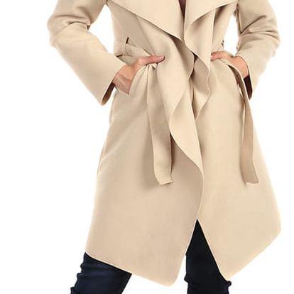 Zavinovací dámský kabát s páskem světle béžová