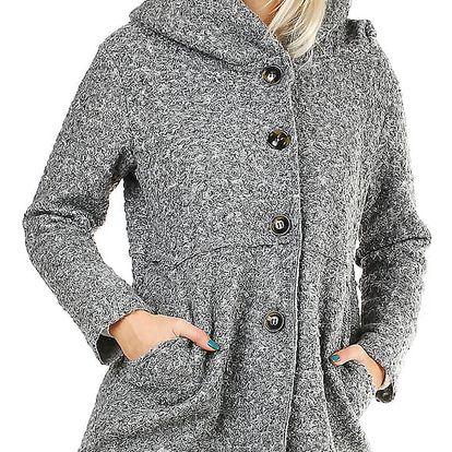 Šedý dámský kabát s kapucí ve vlněném vzhledu šedá