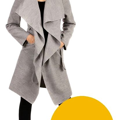 Zavinovací dámský kabát s páskem žlutá