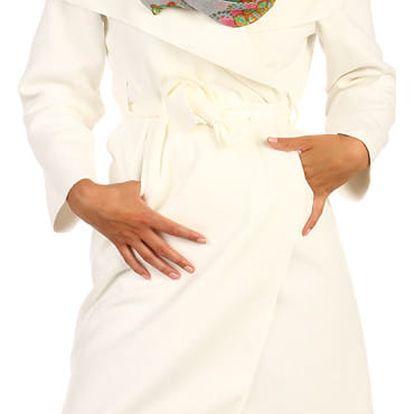 Zavinovací dámský kabát s páskem bílá