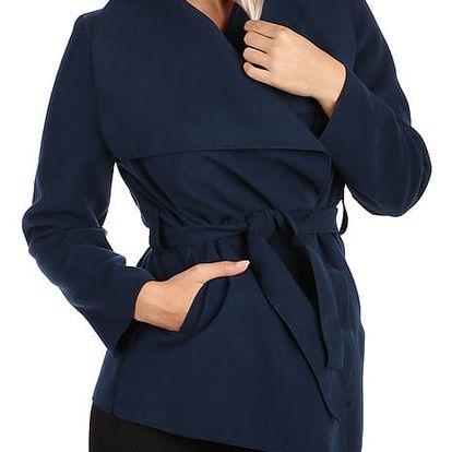 Krátký zavinovací dámský kabát modrá