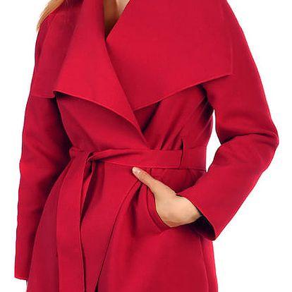 Krátký zavinovací dámský kabát tmavě červená