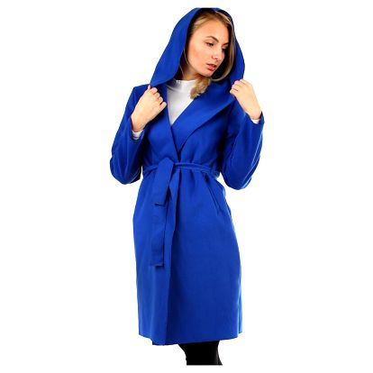 Dámský fleecový kabátek s kapucí modrá