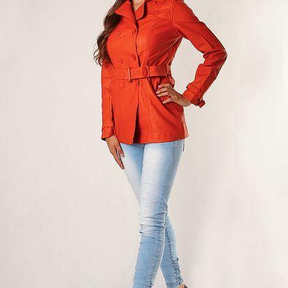 Dámský koženkový kabátek s páskem oranžová