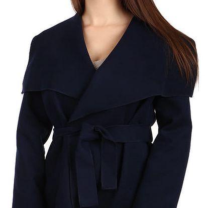 Krátký zavinovací dámský kabát tmavě modrá