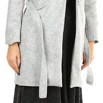 Dámský přechodný kabát s páskem světle šedá