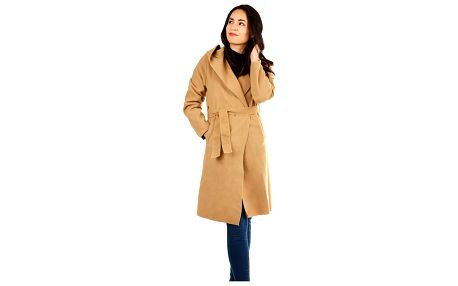 Dámský fleecový kabátek s kapucí světle hnědá