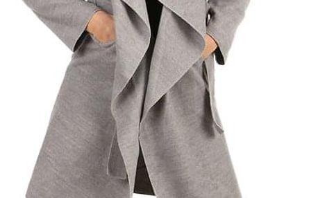 Zavinovací dámský kabát s páskem tmavě růžová