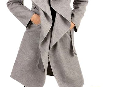 Zavinovací dámský kabát s páskem khaki