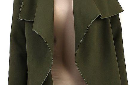 Krátký zavinovací dámský kabát tmavě zelená