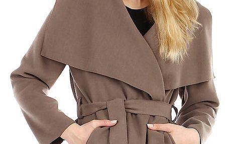 Krátký zavinovací dámský kabát hnědá