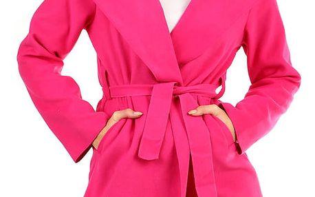 Dámský fleecový kabátek s kapucí růžová