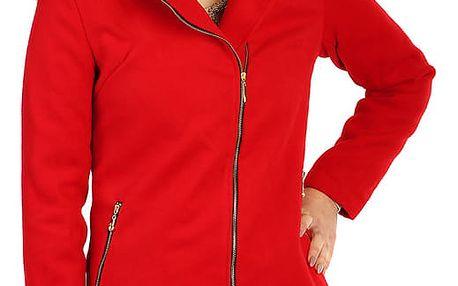Červený dámský kabát s asymetrickým zipem a kožešinou červená