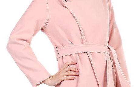 Dámský fleecový kabátek s páskem starorůžová