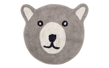 Bloomingville Bavlněný kobereček Brown Bear 70x62cm, šedá barva, černá barva, textil