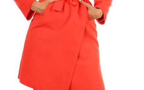 Zavinovací dámský kabát s páskem korálová