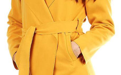 Dámský fleecový kabátek s kapucí hořčicová