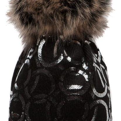 Černá čepice Woolk se spojenými stříbrnými kroužky s melírovanou bambulí