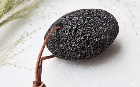 meraki Pemza na paty s koženým poutkem Black, černá barva, kámen