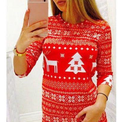 Dámské pletené šaty s vánočním motivem