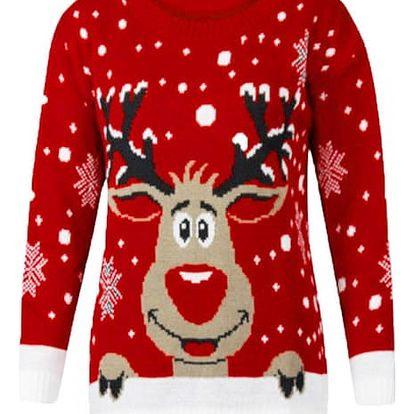 Nádherný vánoční svetr se sobem - 2 barvy