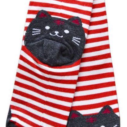 Pruhované ponožky s kočičkou - červené - dodání do 2 dnů