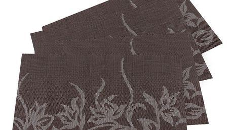 JAHU Prostírání Květy tmavě hnědá, 30 x 45 cm, sada 4 ks