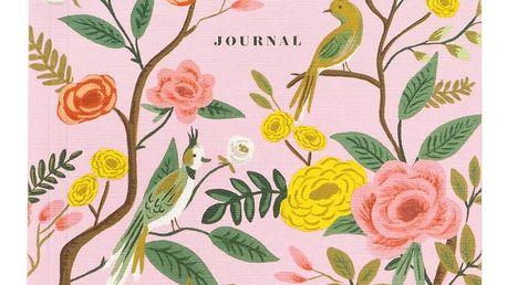 Rifle Paper Co. Linkovaný deník Shanghai Garden, růžová barva, papír