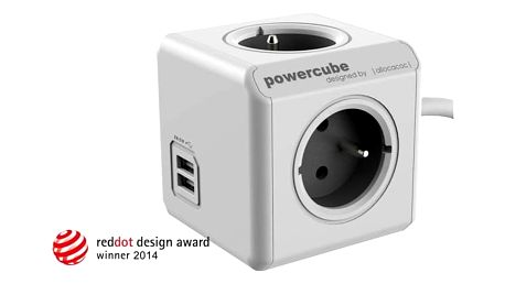 Powercube Extended USB, 4x zásuvka, 2x USB, 1,5m šedý/bílý