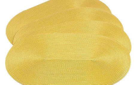 Jahu Prostírání Deco ovál žlutá, sada 4 kusů, 30x45 cm