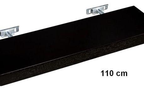 STILISTA SALIENTO 30871 Nástěnná police - hnědočerná 110 cm