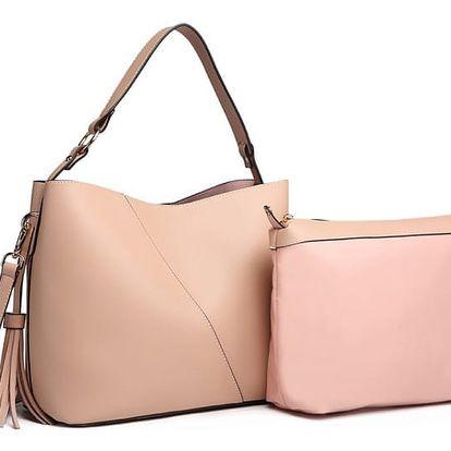 SET: Dámská růžová kabelka Effy 6862