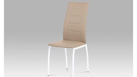 Jídelní židle AC-1196 CAP koženka cappuccino / bílý lak Autronic