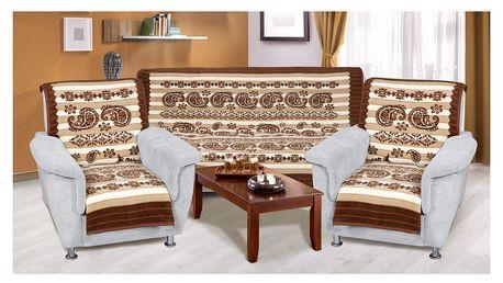 Bellatex Přehozy na sedací soupravu Karmela plus Kašmír, 150 x 200 cm, 2 ks 65 x 150 cm