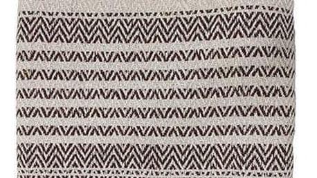 HK living Přehoz natural/brown Zigzag 170x130cm, béžová barva, hnědá barva, přírodní barva, textil