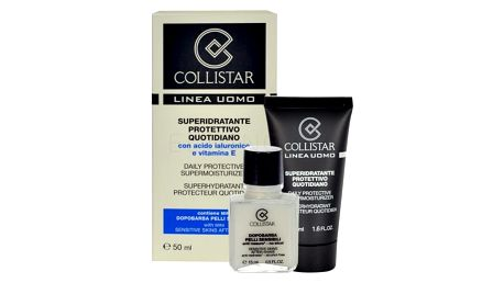 Collistar Men Daily Protective Supermoisturizer dárková kazeta pro muže denní pleťový krém 50 ml + balzám po holení Sensitive Skin 15 ml