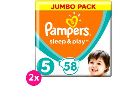 2x PAMPERS Sleep&Play 5 JUNIOR 58ks (11-16 kg) JUMBO PACK - jednorázové pleny