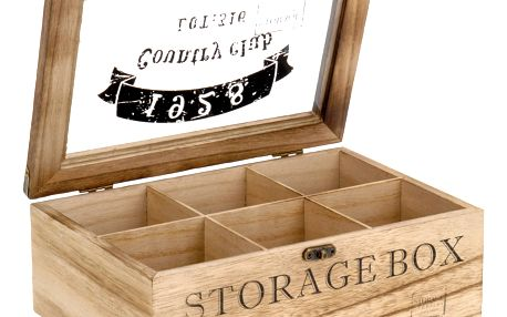 Emako Dřevěný box na čaj COUNTRY CLUB 1928 - 6 přihrádek