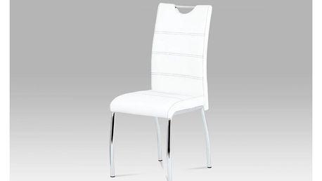 Jídelní židle bílá koženka / chrom HC-585 WT Autronic