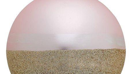 GREEN GATE Vánoční baňka Penelope Gold Pale Pink, růžová barva, zlatá barva, sklo