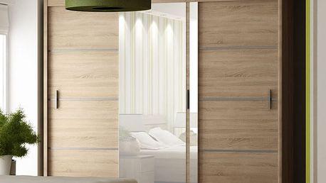 Šatní skříň s posuvnými dveřmi WISTA 250, dub sonoma
