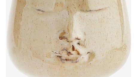 MADAM STOLTZ Obal na květináč Imprint Face, béžová barva, keramika