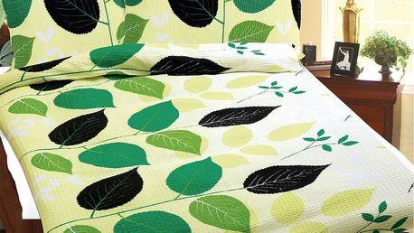 Bellatex Povlečení krep Zelené listy, 140 x 200 cm, 70 x 90 cm